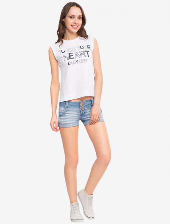 Джинсовые шорты с широким поясом Глория Джинс