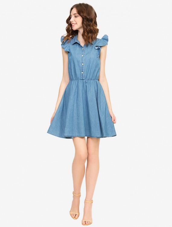 Джинсовое платье с рукавами-крылышками Глория Джинс
