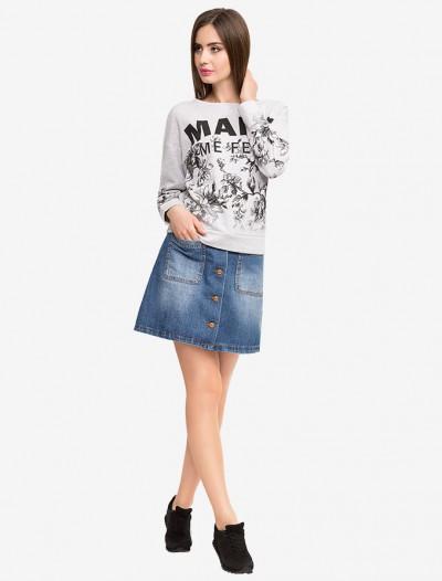 Джинсовая юбка-трапеция с карманами Глория Джинс