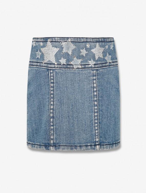 Джинсовая юбка со звездами Глория Джинс