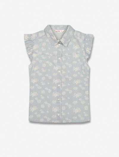 Джинсовая рубашка с рукавами-крылышками Глория Джинс
