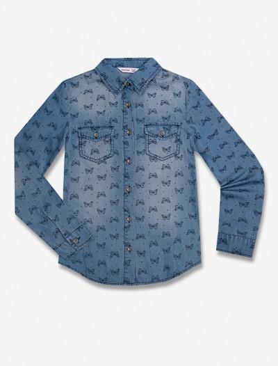 Джинсовая рубашка с рисунком Глория Джинс