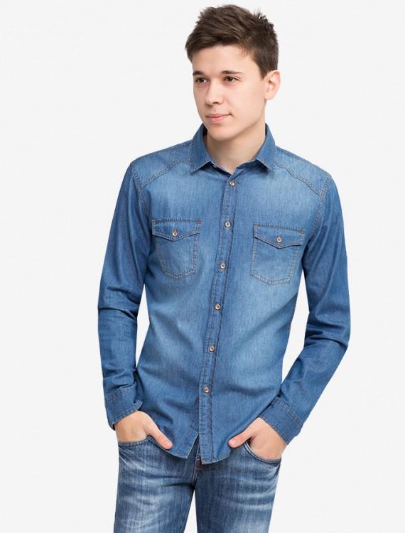 Джинсовая рубашка с карманами Глория Джинс