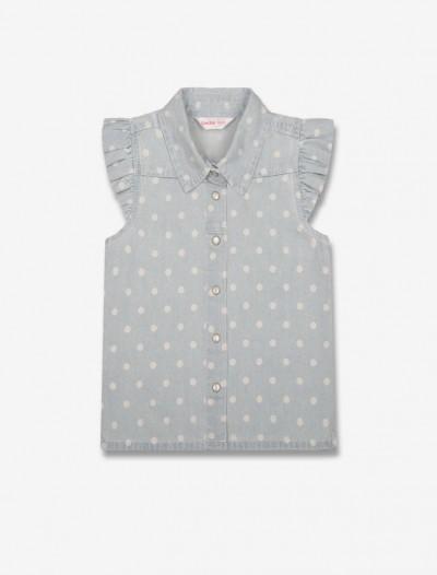 Джинсовая рубашка в горошек Глория Джинс