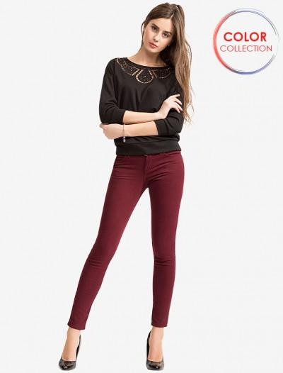 Бордовые твиловые брюки Глория Джинс