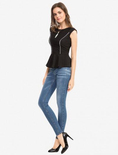 Блузка с баской и контрастной окантовкой Глория Джинс
