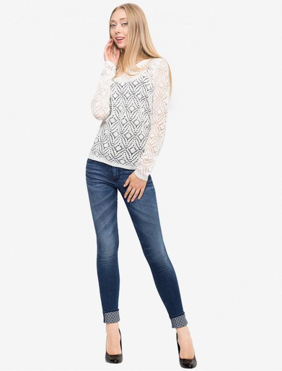 Ажурный пуловер с бантиком на спинке Глория Джинс