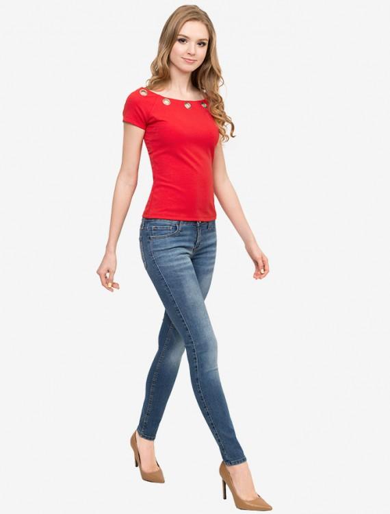 Яркая футболка с металлическими клепками Глория Джинс