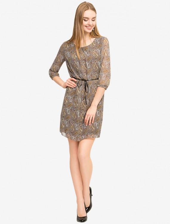 Шифоновое платье с поясом Глория Джинс