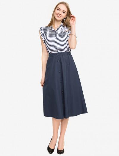 Удлиненная юбка с декоративными пуговицами Глория Джинс