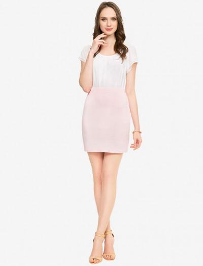 Трикотажная юбка жемчужного оттенка Глория Джинс