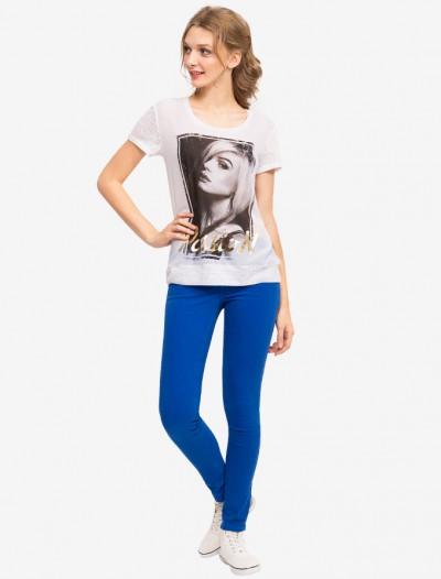 Трикотажная футболка с блестящим принтом Глория Джинс
