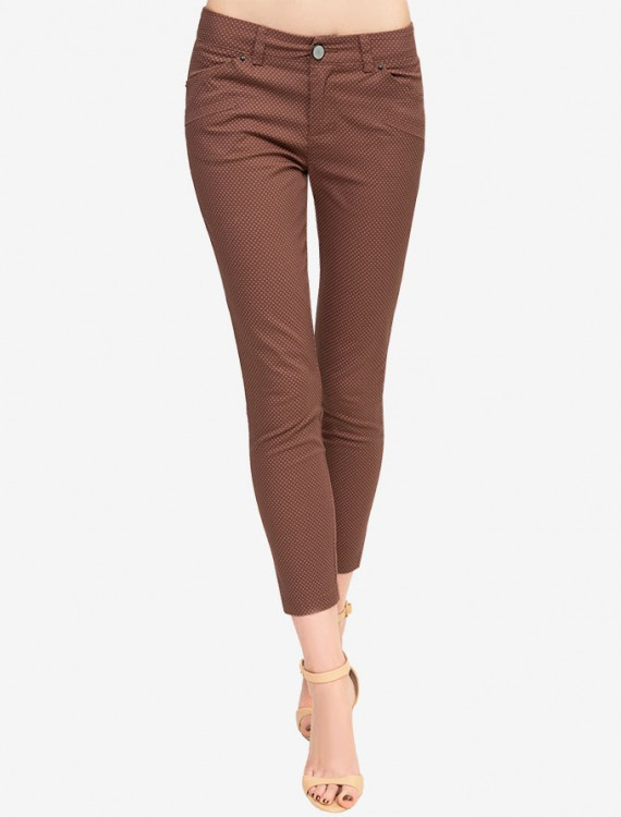 Твиловые брюки Ankle с принтом в горошек Глория Джинс