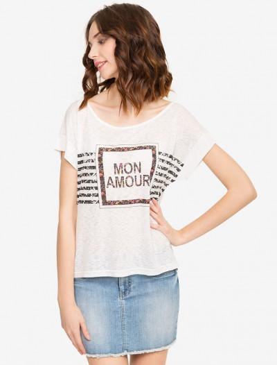 Свободная футболка с принтом Глория Джинс