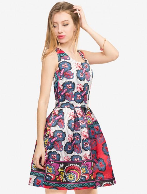 Сатиновое платье с принтом Глория Джинс
