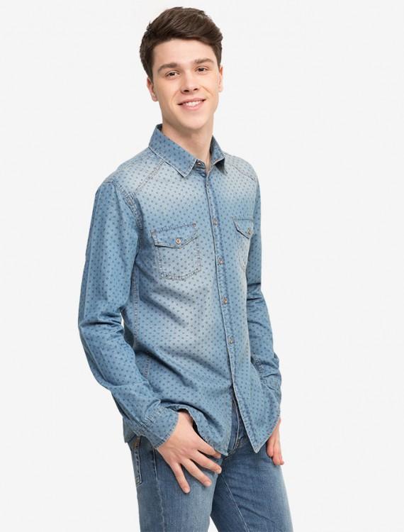 Рубашка из денима с узором Глория Джинс
