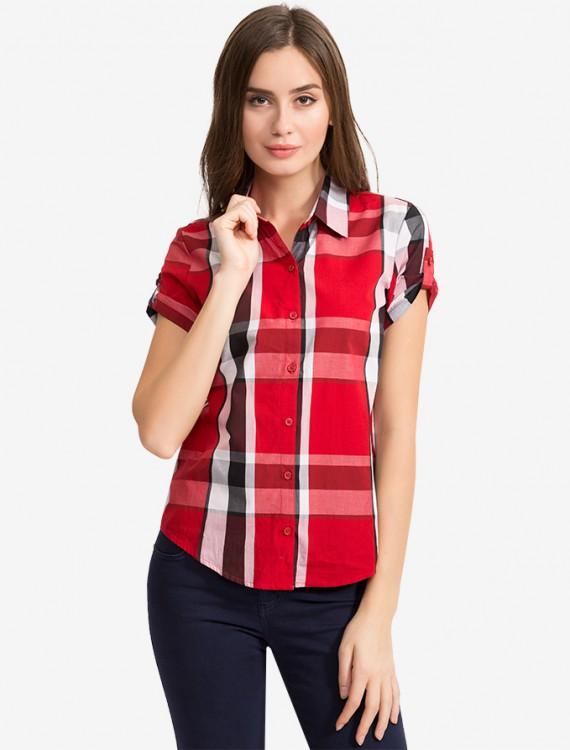 Рубашка в клетку с коротким рукавом Глория Джинс
