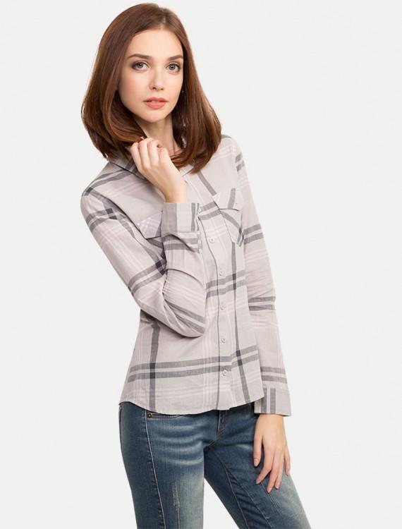 Рубашка в клетку с карманами Глория Джинс