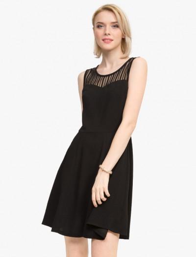Приталенное платье с сетчатой вставкой Глория Джинс