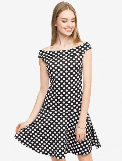 Приталенное платье в горошек Глория Джинс