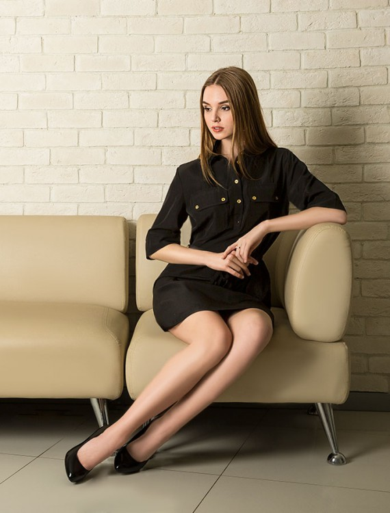 Платье-рубашка с рукавом три четверти Глория Джинс