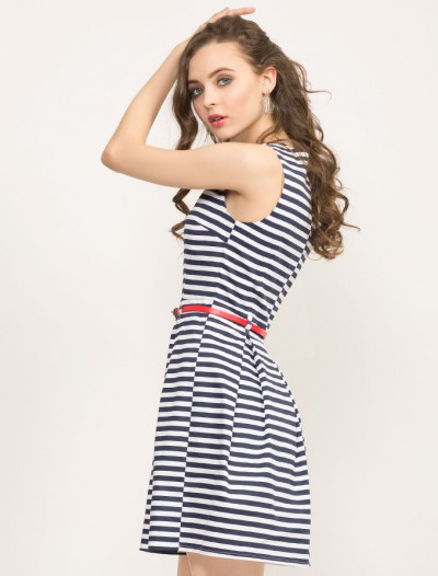 Платье в полоску с кожаным ремешком Глория Джинс