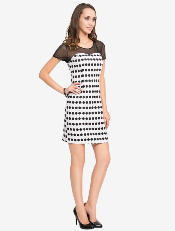 Платье в горошек с сетчатой кокеткой Глория Джинс