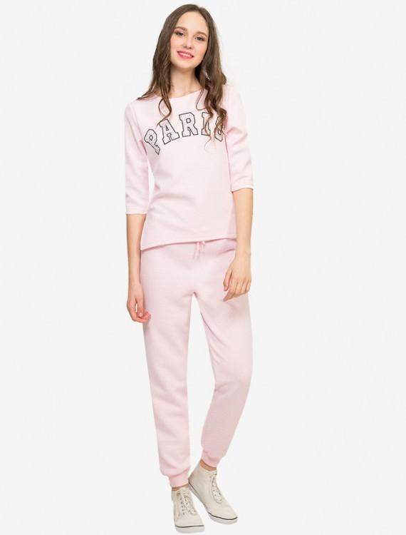 Нежно-розовые брюки из стеганого трикотажа Глория Джинс